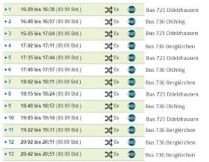 Busverbindungen Mo-Fr mit Buslinien